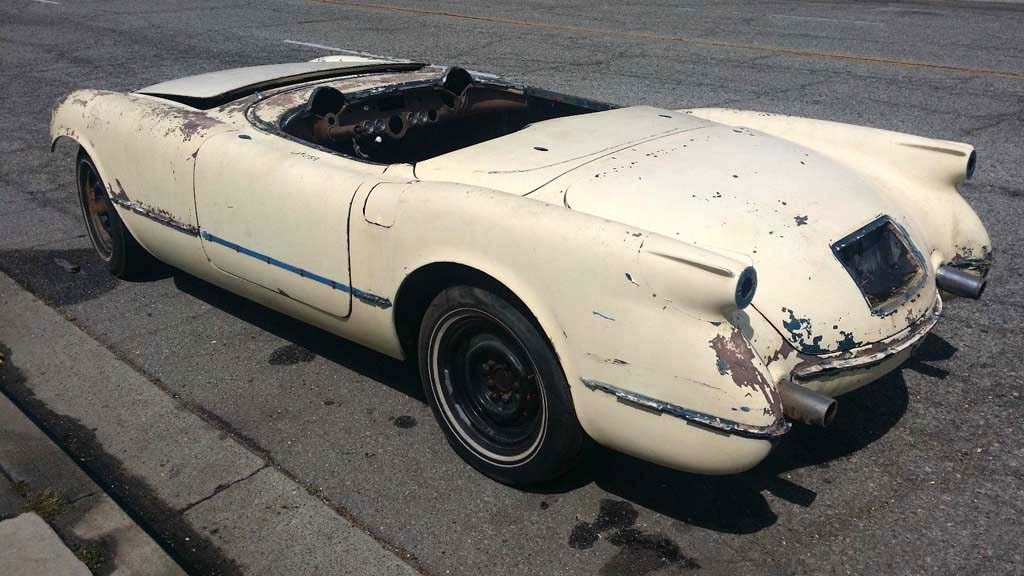 Corvettes on eBay: 1954 Corvette Barn Find May be One of 300 Pennant Blue Cars