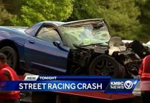Corvette Driver Injured in Fiery Street Race Crash