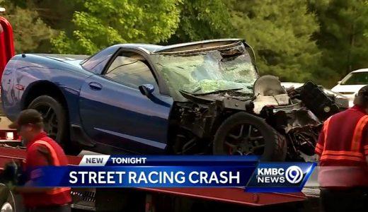 Corvette Driver Injured in Fiery Street Race Crash