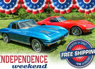 Celebrate 4th of July with Corvette America's Free Shipping on Orders of $74 or More