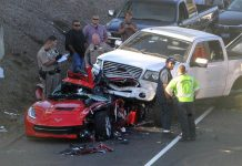 [ACCIDENT] Pickup Truck Lands on top of a Corvette Stingray in California