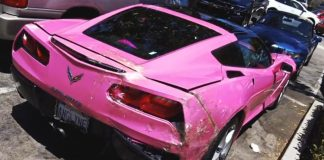 [ACCIDENT] Something Crashed into the Back of Angelyne's Pink Corvette Stingray