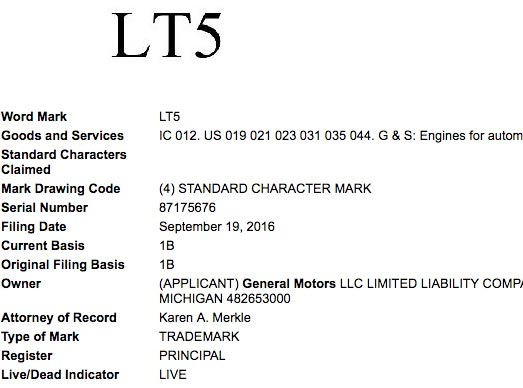 GM Refiles Trademark Applications for LT5 and LTX Engine Names