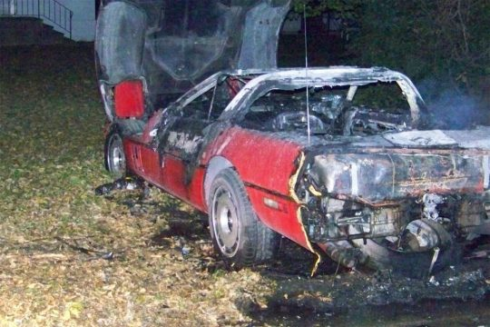 Firefighters Extinguish the Flames after a C4 Corvette Explodes in Iowa