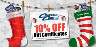Save 10 Percent on Corvette Central Gift Certificates
