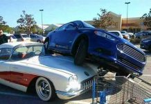 [ACCIDENT] Scorned Wife Parks Ford on Cheating Husband's 1958 Corvette at Walmart