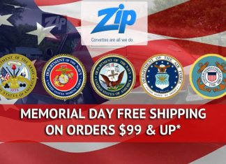 Free Shipping on Orders of $99 or More this Memorial Day Weekend from Zip Corvette