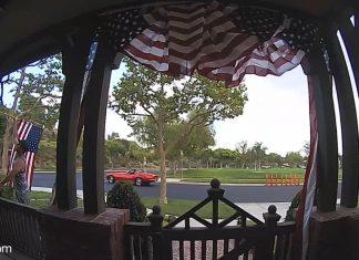 [VIDEO] Corvette Driver Picks Up Neighbor's Fallen American Flag