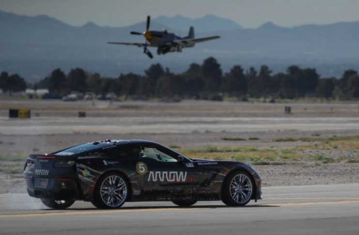 Sam Schmidt Drives his Semi Autonomous Corvette Z06 to 190 MPH at Nellis Air Force Bace