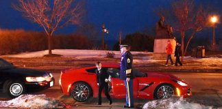 A C7 Corvette Ride with a Police Escort Give a Minnesota Boy with Cancer a Night to Remember