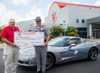 Corvette Museum Presents Check to KSP to Benefit Trooper Island Camp