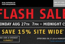 Flash Sale Tonight at Mid America Motorworks - Save 15 Percent Site-Wide!