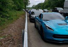 A Corvette and Other Sports Cars Pulled Over for Driving Too Slow