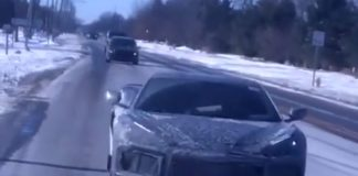 [SPIED] C8 Mid-Engine Corvette Prototype Driving on Snowy Roads
