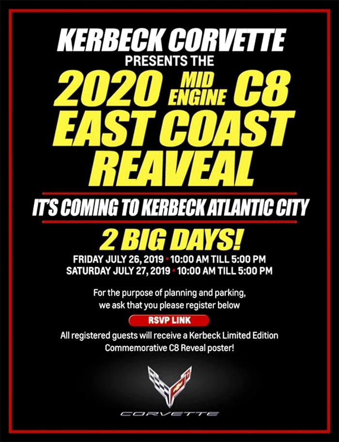 The East Coast Reveal of the C8 Corvette is Happening at Kerbeck on July 26-27th