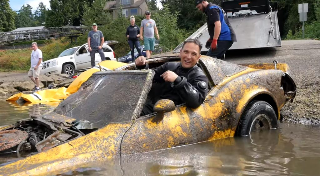 [VIDEO] Watch This Waterlogged Yellow 1980 Corvette Pulled From An Old Boat Ramp