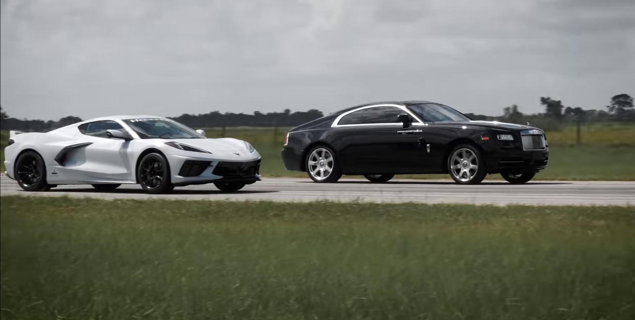 Video Hennessey Races The 2020 Corvette Vs A Rolls Royce Wraith Because Of Course They Did Corvette Sales News Lifestyle